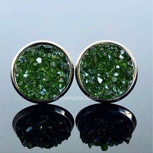 3 for $15🎀juniper green crystal faux druzy studs